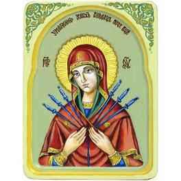 Рукописная икона Богородицы «Умягчение злых сердец» с киотом из ясеня, мастер Надежда Ермолаева