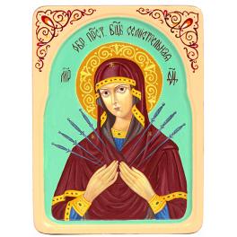 Рукописная икона Богородицы «Семистрельная» с киотом из ясеня, мастер Татьяна Угодина