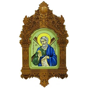 Рукописная икона размером 15х20 см «Святой апостол Андрей Первозванный» в резном киоте