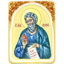 Рукописная икона «Святой апостол Андрей Первозванный» с киотом из ясеня, мастер Светлана Солдатова