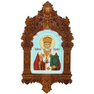Рукописная икона в киоте «Святитель Николай, архиепископ Мир Ликийских, чудотворец», мастер Наталья Бобоева