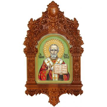 Рукописная икона размером 15х20 см «Святитель Николай, архиепископ Мир Ликийских, чудотворец» с киотом