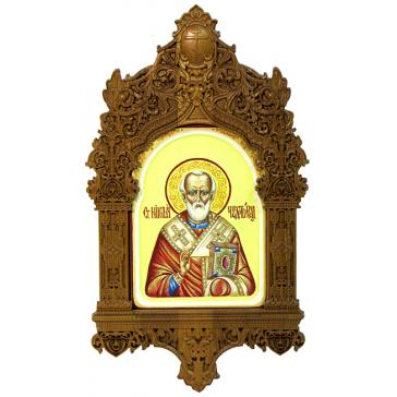 Рукописная икона «Святитель Николай, архиепископ Мир Ликийских, чудотворец» с киотом из ясеня, мастер Светлана Солдатова