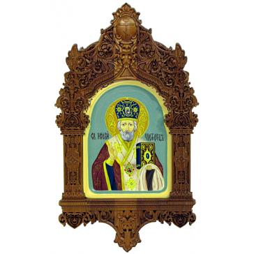Рукописная икона «Святитель Николай, архиепископ Мир Ликийских, чудотворец» с киотом, производство Россия