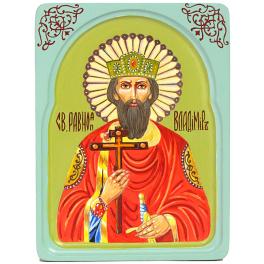 Рукописная икона размером 15х20 см «Святой равноапостольный князь Владимир» в резном киоте