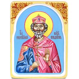 Рукописная икона «Святой равноапостольный князь Владимир» с киотом из ясеня, мастер Светлана Солдатова