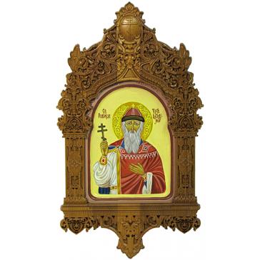 Рукописная икона «Святой равноапостольный князь Владимир» с киотом, производство Россия