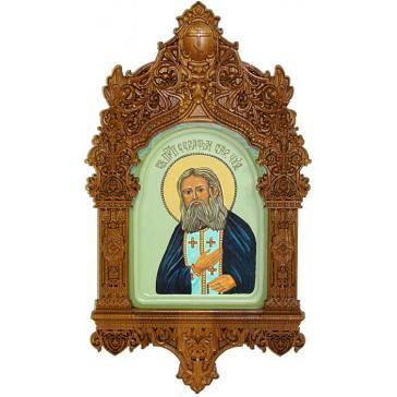 Рукописная икона «Преподобный Серафим Саровский чудотворец» с киотом, мастер Натальей Бобоевой