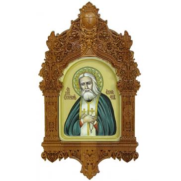 Рукописная икона «Преподобный Серафим Саровский чудотворец» с киотом, производство Россия