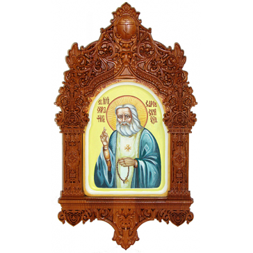 Рукописная икона Преподобного Серафима Саровского в киоте, размер иконы 15х20 см