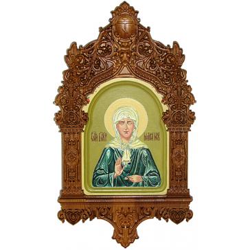 Рукописная икона «Святая Матрона Московская» в резном киоте, производство Россия