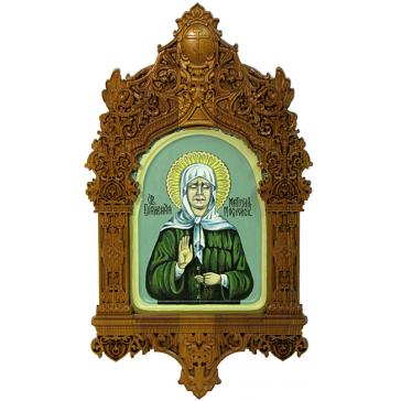 Рукописная икона размером 15х20 см «Святая Матрона Московская» в резном киоте