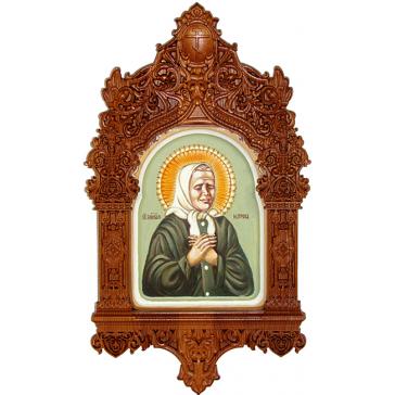 Рукописная икона «Святая Матрона Московская» с киотом из ясеня, мастер Светлана Солдатова