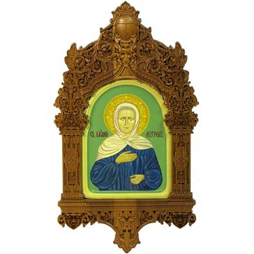 Рукописная икона размером 15х20 см «Святая Матрона Московская» в киоте, мастер Татьяна Угодина