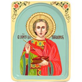 Рукописная икона «Святой Великомученик и Целитель Пантелеймон» в киоте, мастер Наталья Бобоева