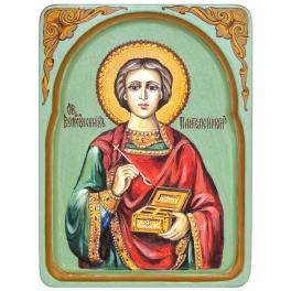 Рукописная икона размером 15х20 см «Святой Великомученик и Целитель Пантелеймон» в киоте