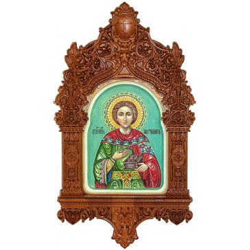 Рукописная икона в киоте «Святой Великомученик и Целитель Пантелеймон», размер 15х20 см