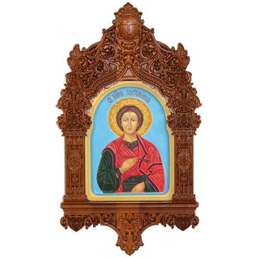 Рукописная икона «Святой Великомученик и Целитель Пантелеймон» с киотом, производство Россия