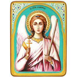 Рукописная икона «Ангел Хранитель» с киотом из ясеня, мастер Светлана Солдатова