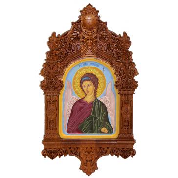 Рукописная икона «Ангел Хранитель» в резном киоте