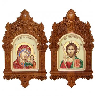 Рукописные иконы 15х20 см – венчальная пара «Казанская Божия Матерь» и «Господь Вседержитель» в киотах, Россия