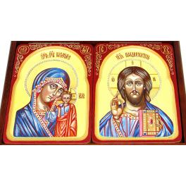 Венчальная пара рукописных икон «Казанская Божия Матерь» и «Господь Вседержитель» в киотах, размер иконы 15х20 см