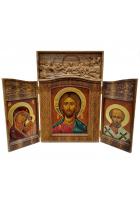 Складень: Господь Вседержитель, Богородица Казанская и Николай Чудотворец