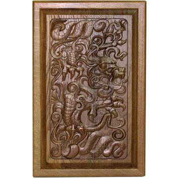 Резные нарды из массива мореного дуба «Китайский дракон»