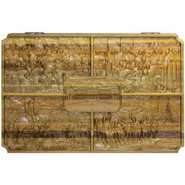Резные объёмные нарды из морёного дуба «Искусство», размер доски в сложенном состоянии 60х40 см
