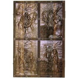 Резные нарды из морёного дуба «Богатырские», ручная работа