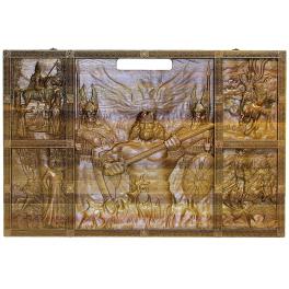 Резные нарды из морёного дуба «Славянские», размер доски в сложенном состоянии 60х40 см