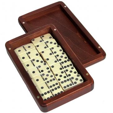 Домино турнирное в берёзовой шкатулке