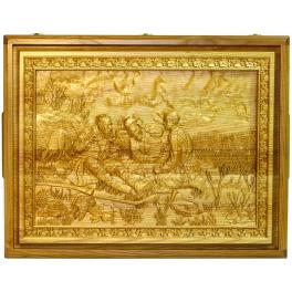 Русское лото «Охотники на привале» в большой резной шкатулке из ясеня, размер 54х42х16 см