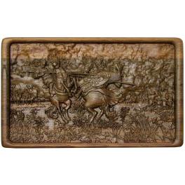 Домино «Поединок Пересвета с Челубеем на Куликовом поле» в резной шкатулке, ручная работа