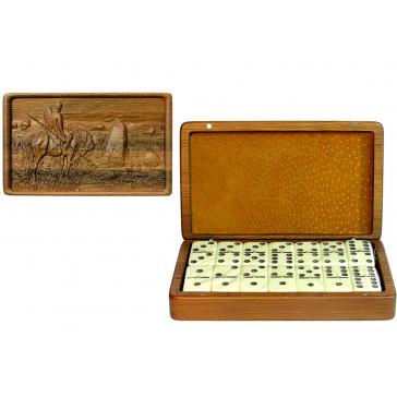 Подарочное домино «Витязь на распутье» в деревянной шкатулке