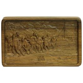 Домино «Бурлаки на Волге» в деревянной шкатулке