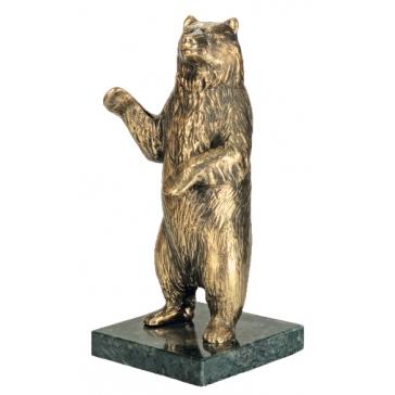 Бронзовая статуэтка на камне «Медведь»