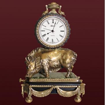 Настольные часы из бронзы «Кабан» (со шкатулкой)