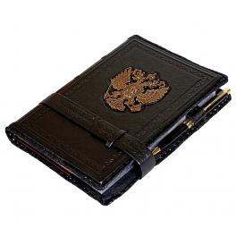 Кожаный ежедневник для мужчины «Герб России»