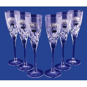 Подарочный набор из 6-ти бокалов для шампанского «Лотос», хрусталь