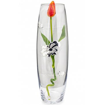 Ваза для цветов «Флора», материал: стекло, посеребрение