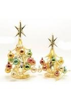 Статуэтка «Золотая елка с разноцветными шарами»
