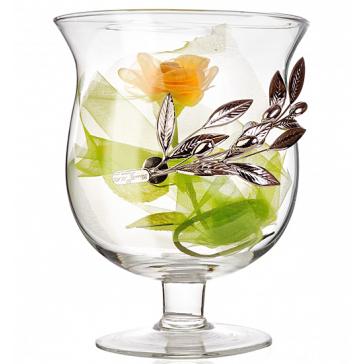 Интерьерная ваза с посеребренным декором «Оливковая ветвь», высота 31 см