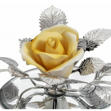 Цветок из фарфора на подставке «Желтая роза», Италия