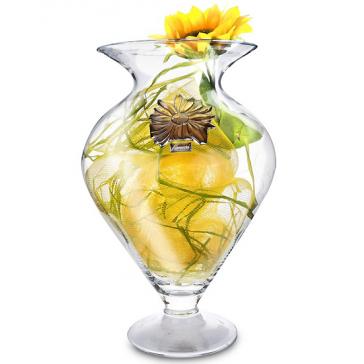 Стеклянная ваза с посеребренным декором «Подсолнух»