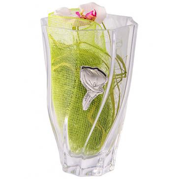 Ваза для цветов с посеребренным декором «Садовая калла»