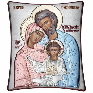 Посеребрённая икона «Святое семейство» с цветной эмалью