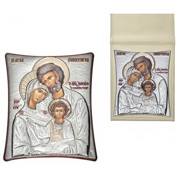 Посеребрённая икона «Святое семейство» в футляре, 5х7 см
