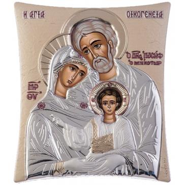 Посеребрённая икона «Святое семейство» с золотой эмалью