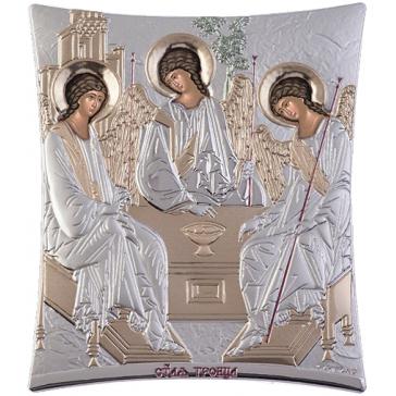 Подарочная икона с посеребрением «Святая Троица», 11х14 см